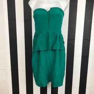 5 for $25 Charlie Jade Green Silk Peplum Dress